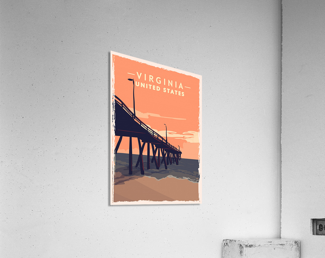 virginia retro poster usa virginia travel illustration united states america  Acrylic Print