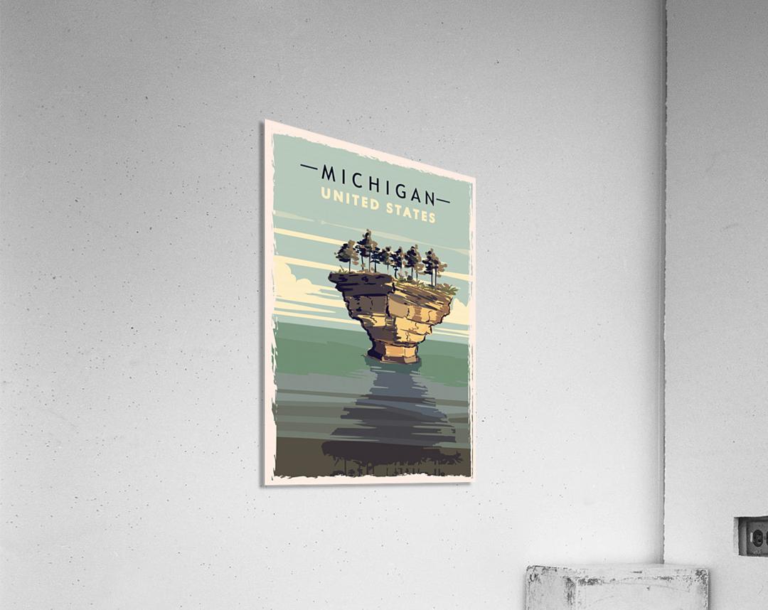 michigan retro poster usa michigan travel illustration united states america  Acrylic Print