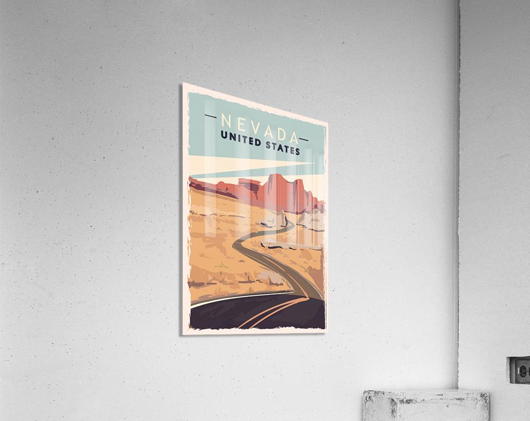 nevada retro poster usa nevada travel illustration united states america  Acrylic Print