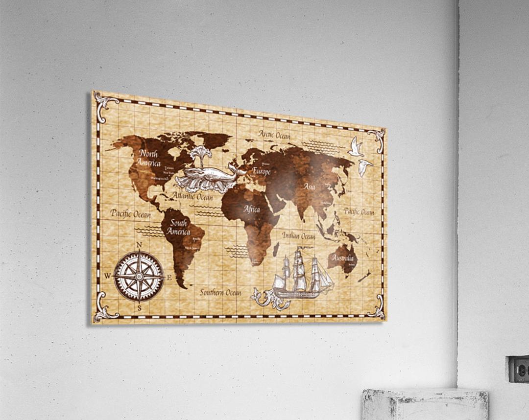 Vintage old classic antique retro map  Acrylic Print