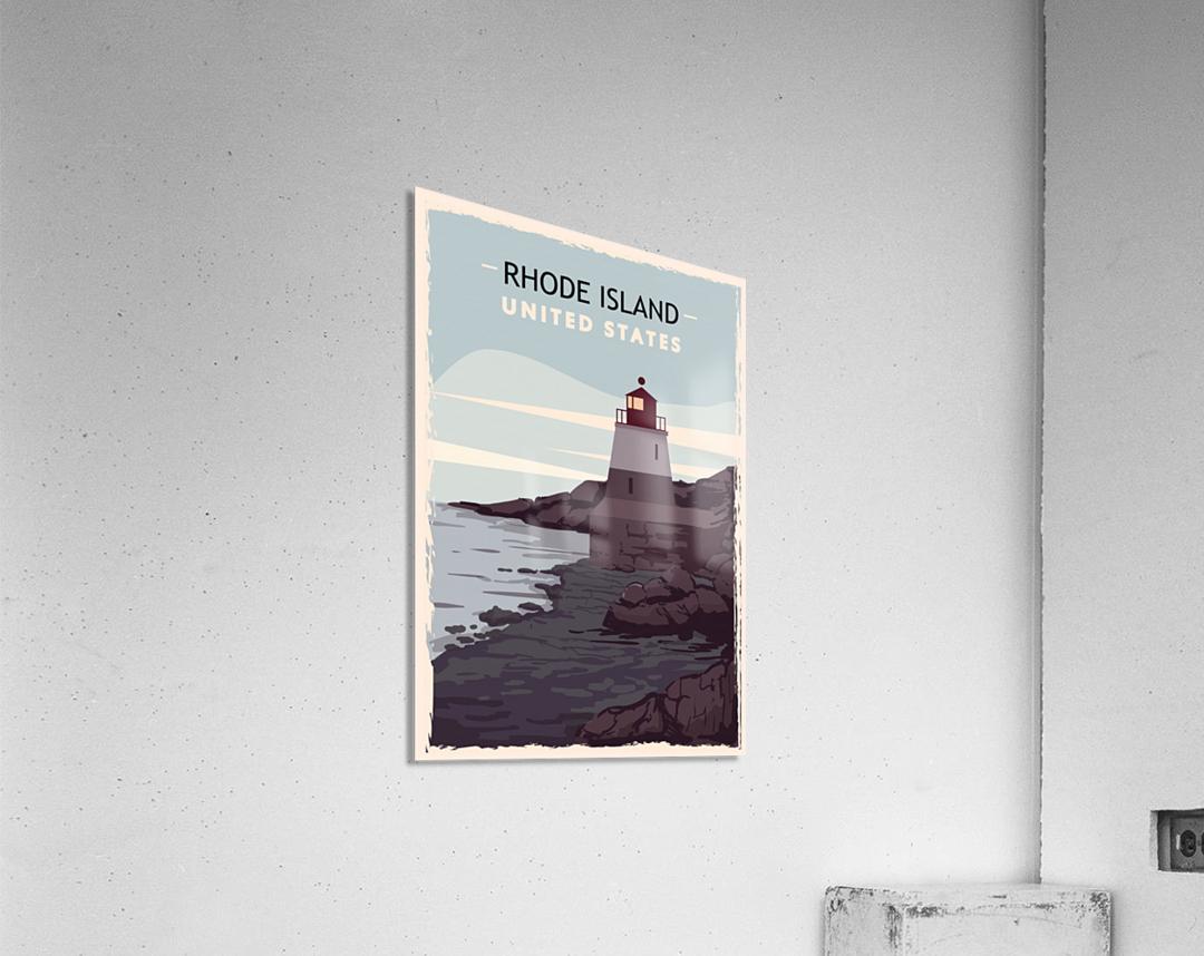 Rhode island retro poster usa rhode island travel illustration united states america  Acrylic Print