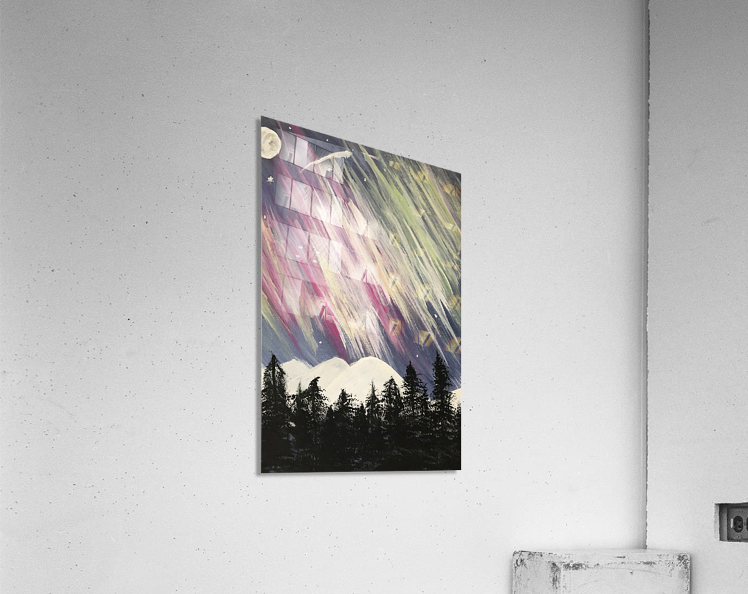 Aurora Borealis Above The Forest  Acrylic Print