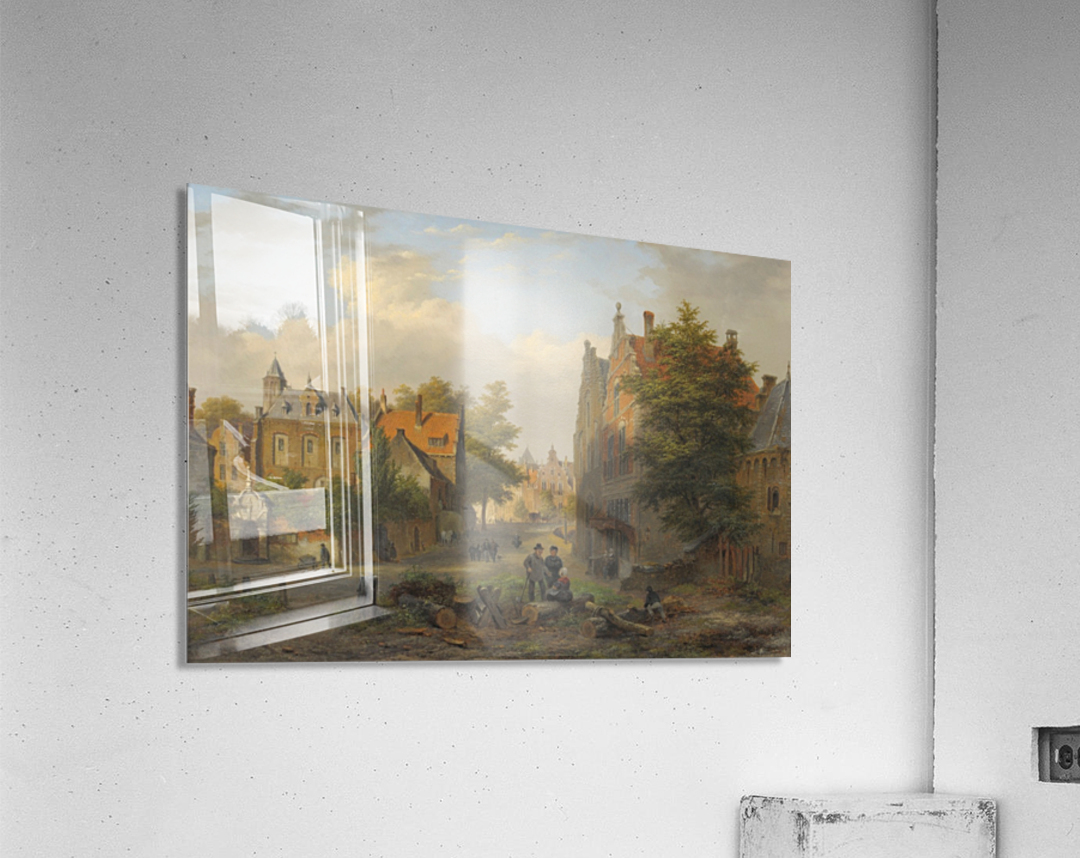View of a town with figures in conversation  Acrylic Print