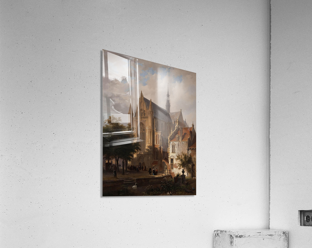 Het uitgaan van de kerk in Leiden  Acrylic Print