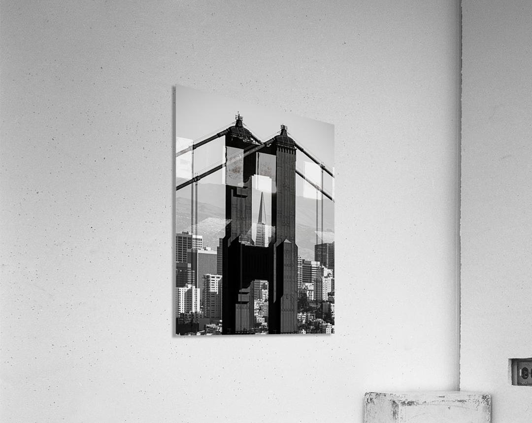 Threading the Needle - Golden Gate Bridge in Black and White  Acrylic Print