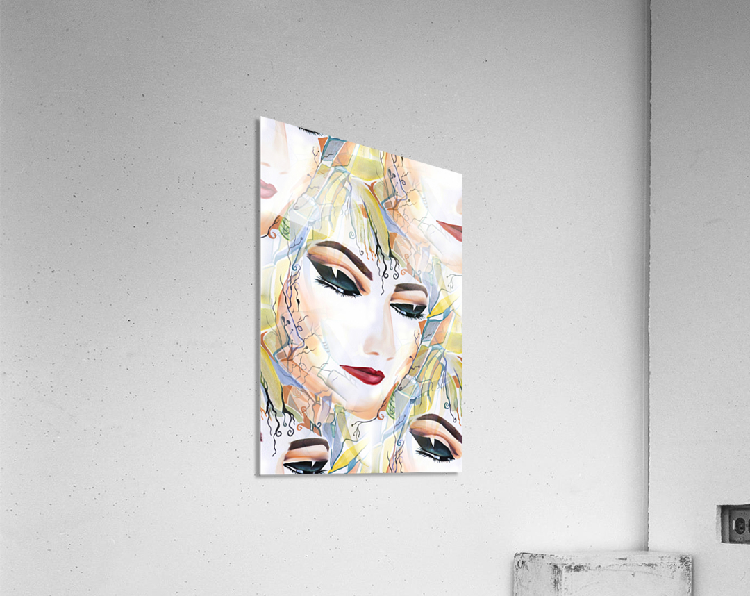 Mysterious Female in Seamless Pattern  Acrylic Print