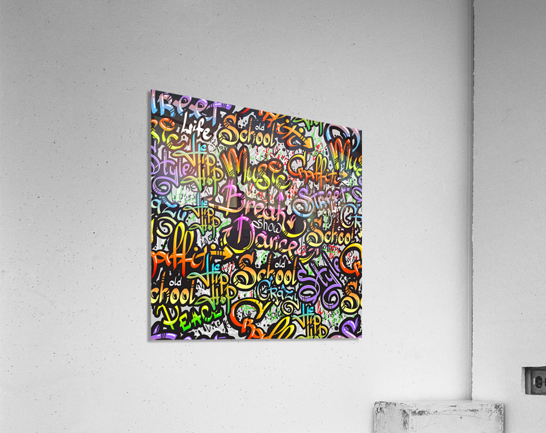 graffiti word seamless pattern  Acrylic Print