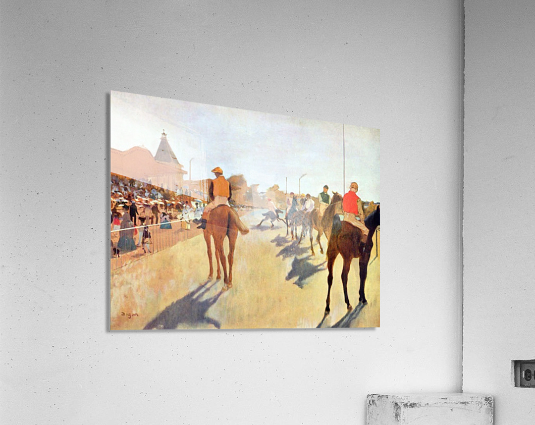 Jockeys in front of the grandstand by Degas  Acrylic Print