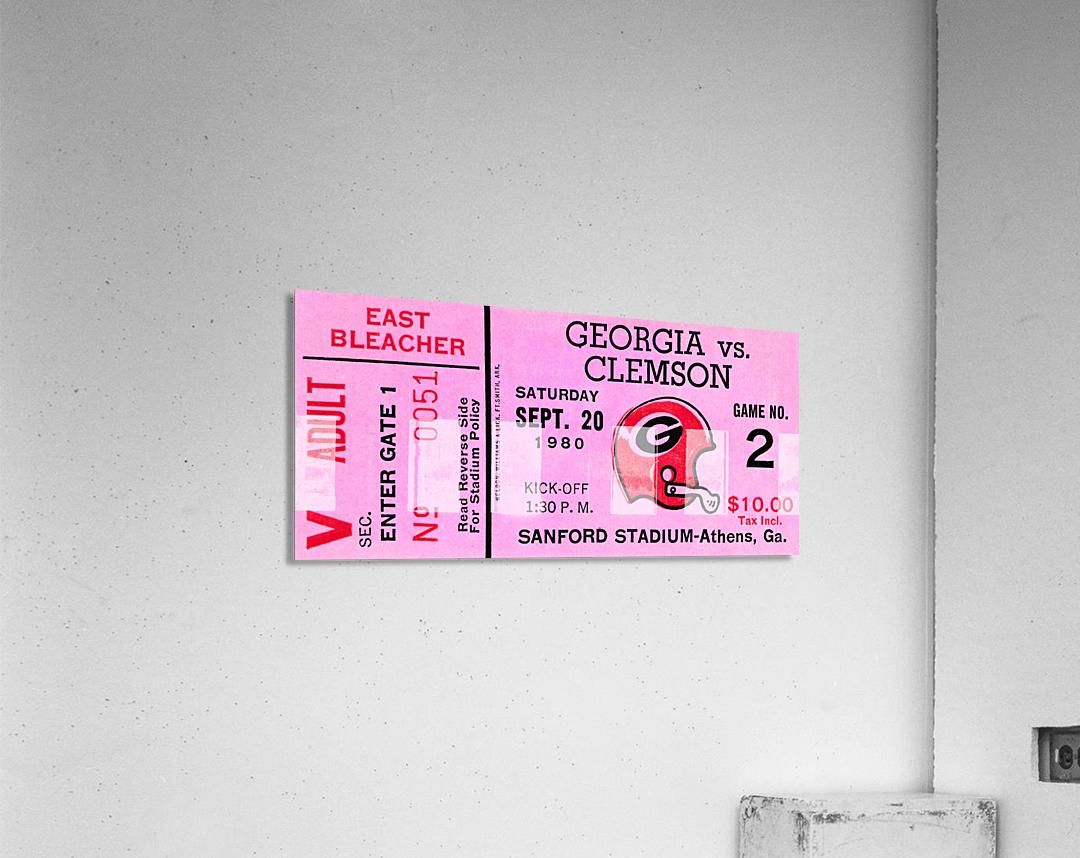 university of georgia college football ticket stub print on wood  Acrylic Print
