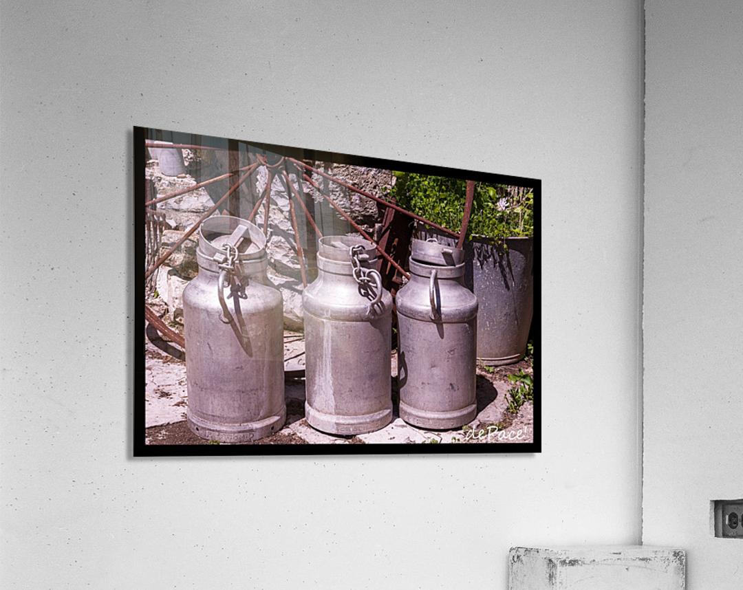 rustic milk cans  Acrylic Print