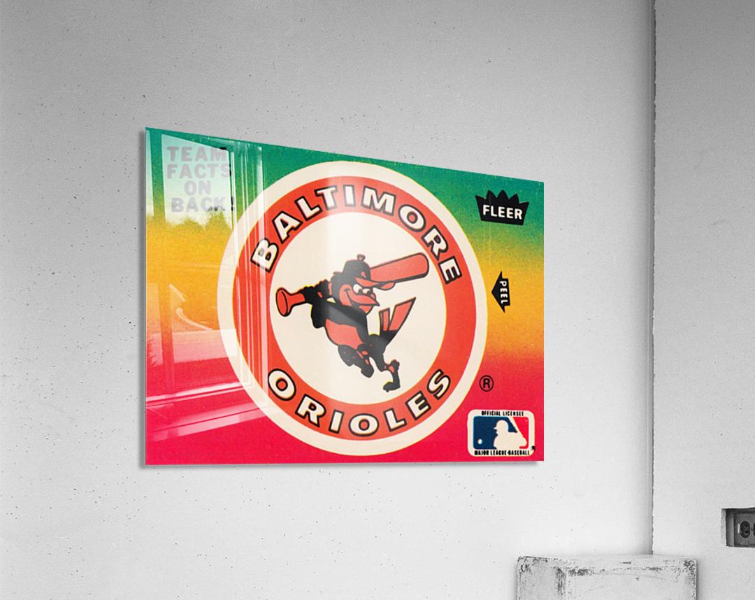 1983 fleer baseball stickers baltimore orioles wood print  Acrylic Print