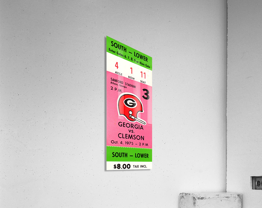 1975 college football clemson georgia bulldogs sanford stadium athens ticket stub canvas  Acrylic Print