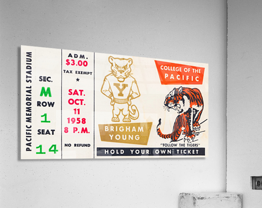 1958 college of the pacific brigham young football ticket art  Acrylic Print