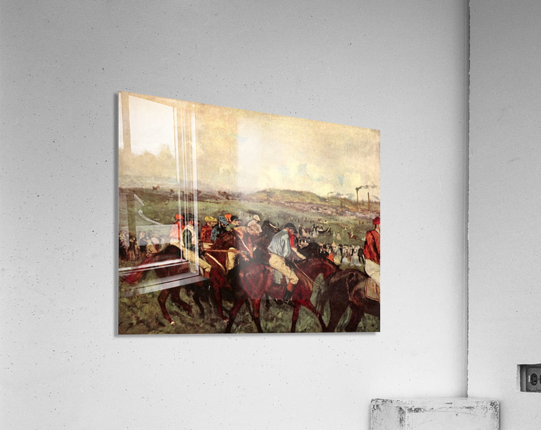 Men s riders before the start by Degas  Acrylic Print