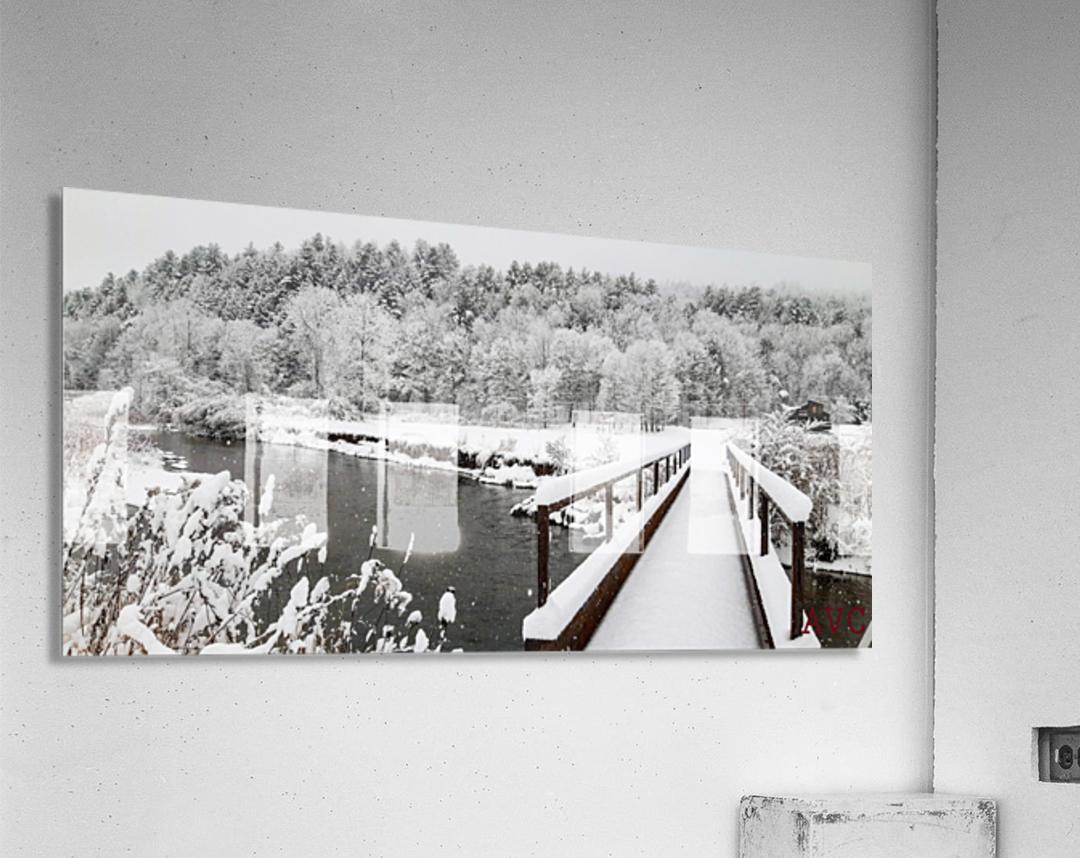 Rugby Pitch Bridge- Winter  Acrylic Print