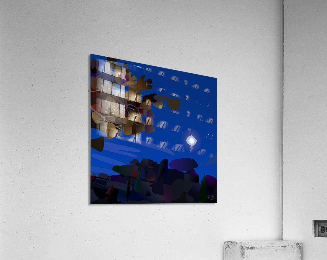 Vedauwoo at Night with Headlamps  Acrylic Print