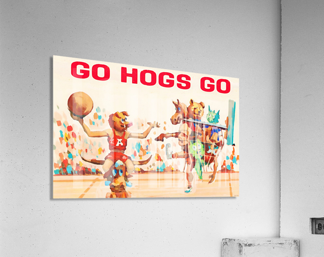 1984 Arkansas Cartoon Basketball Art  Acrylic Print