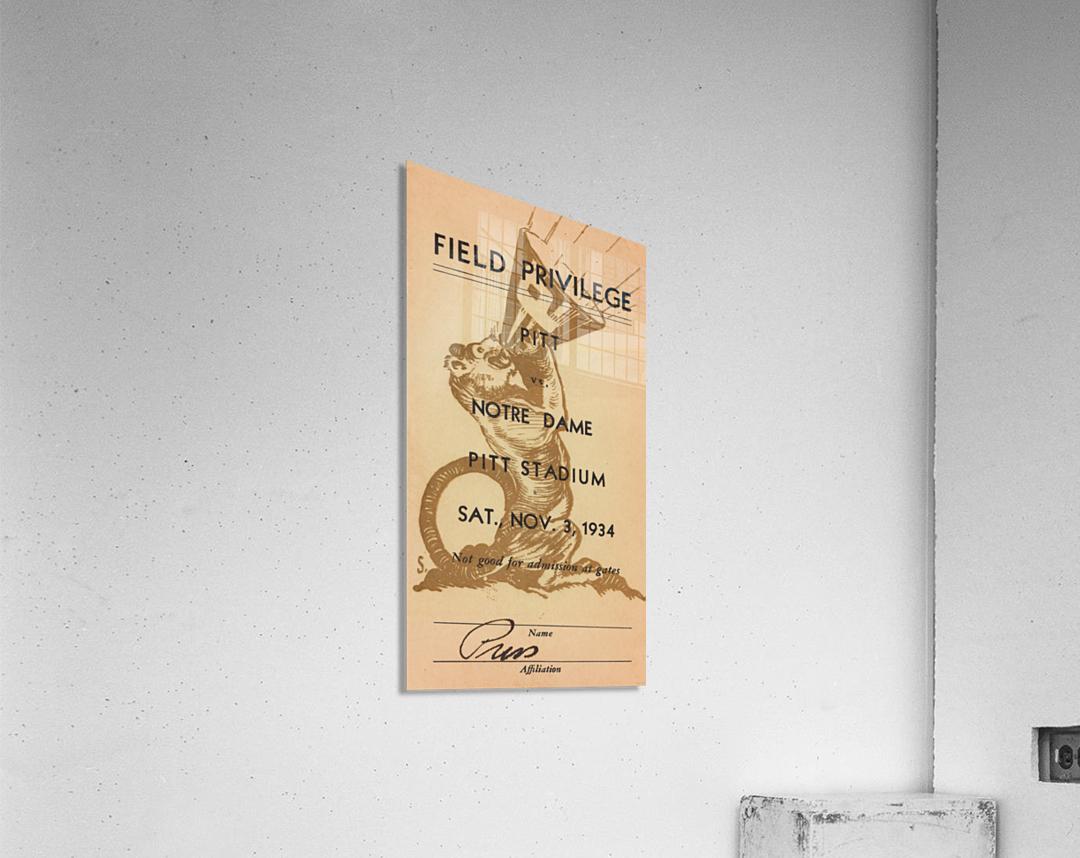 1934 Pitt vs. Notre Dame Football Press Pass  Acrylic Print