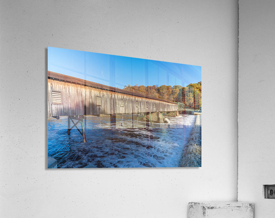 Harpersfield covered bridge and dam Ashtabula County autumn 2020  Acrylic Print