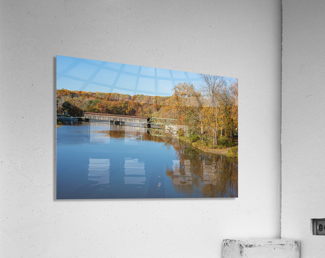 Grand River and Harpersfield covered bridge  Acrylic Print