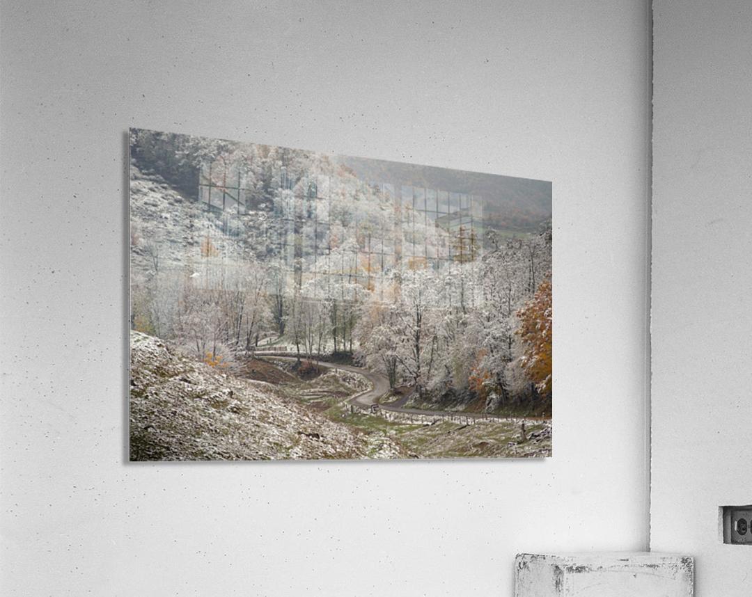 Back Hollow Road Tucker County WV autumn snow  Acrylic Print