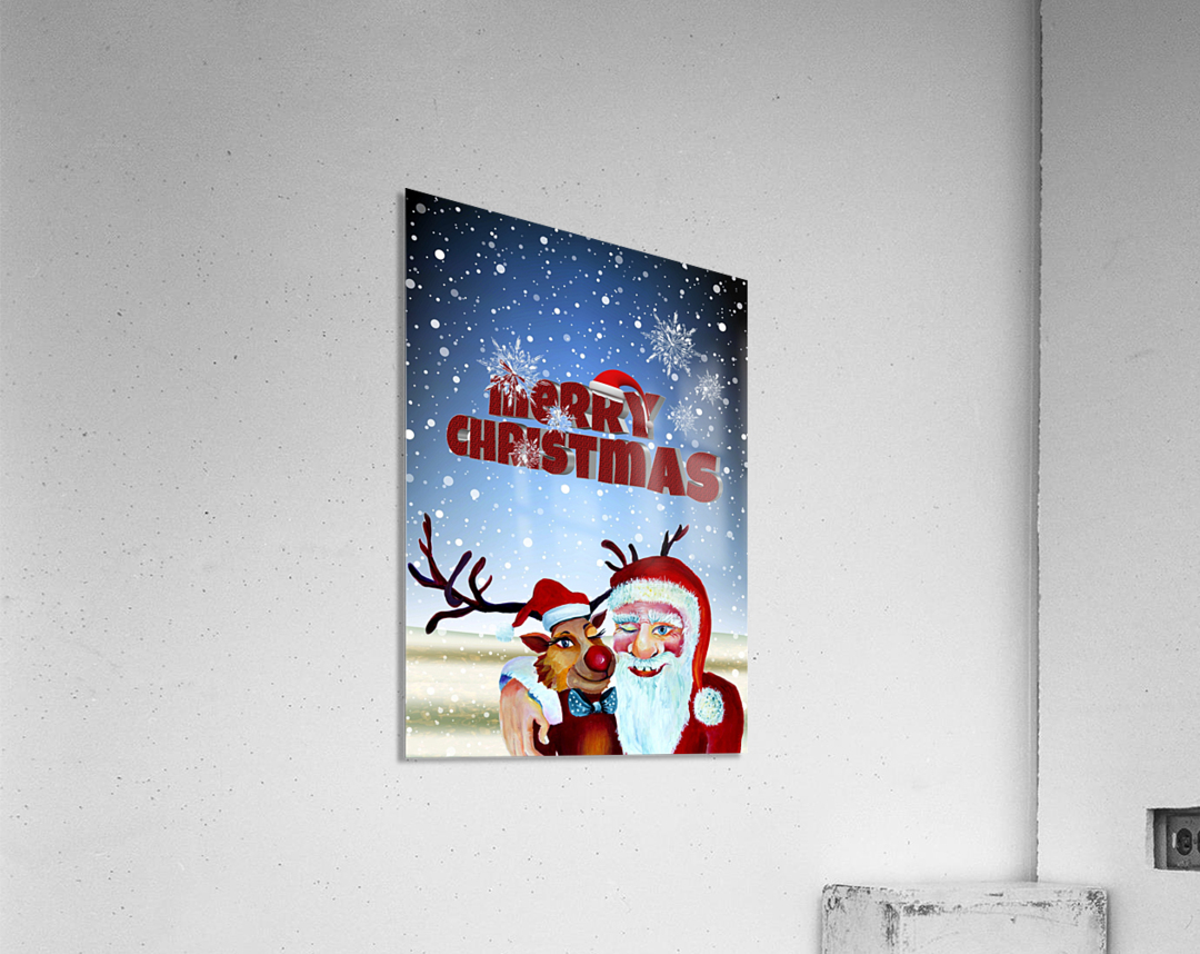 Santa Clause and Rudolph in Magical Winter night  Acrylic Print