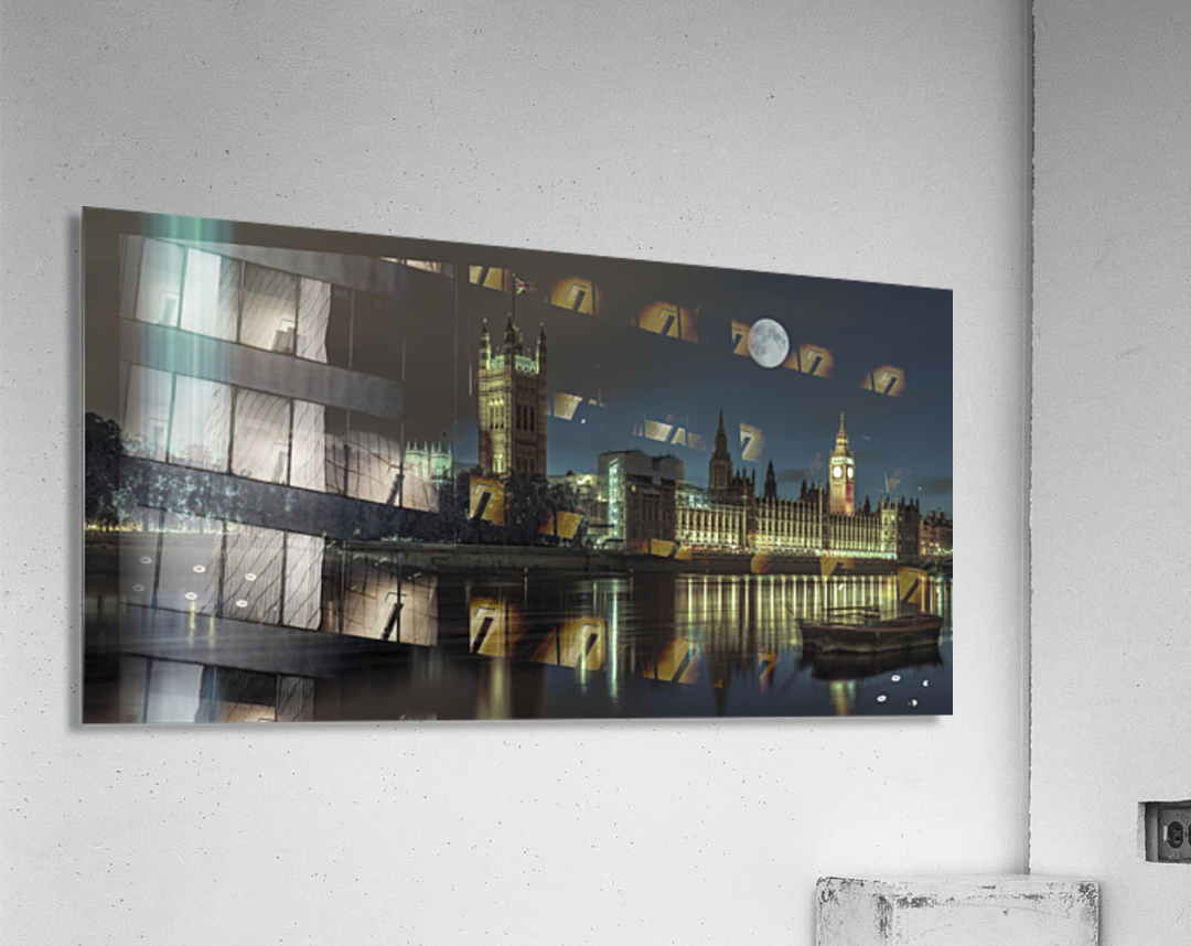 Column of spectra lights with Westminster Abby, London, UK  Acrylic Print