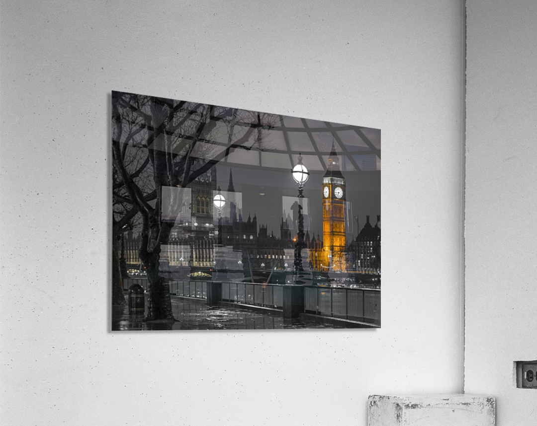 London cityscape in evening from Thames promenade  Acrylic Print