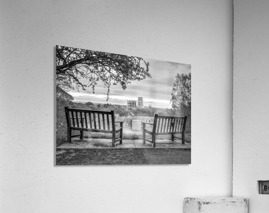 Park benches with Durham Cathedral in background  Acrylic Print
