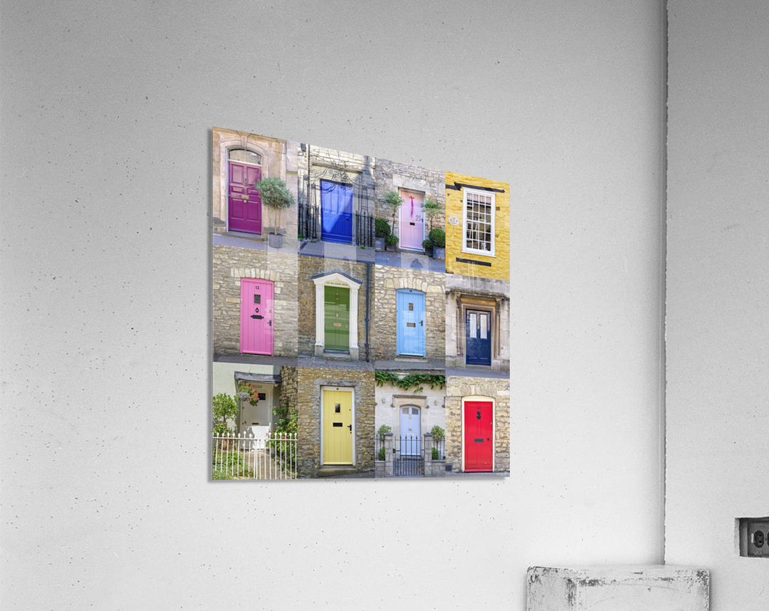 Collage of old doors, Cotswold, UK  Acrylic Print