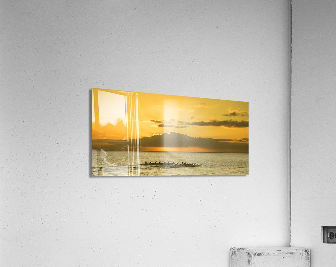 Long Canoes at Sunset  Acrylic Print