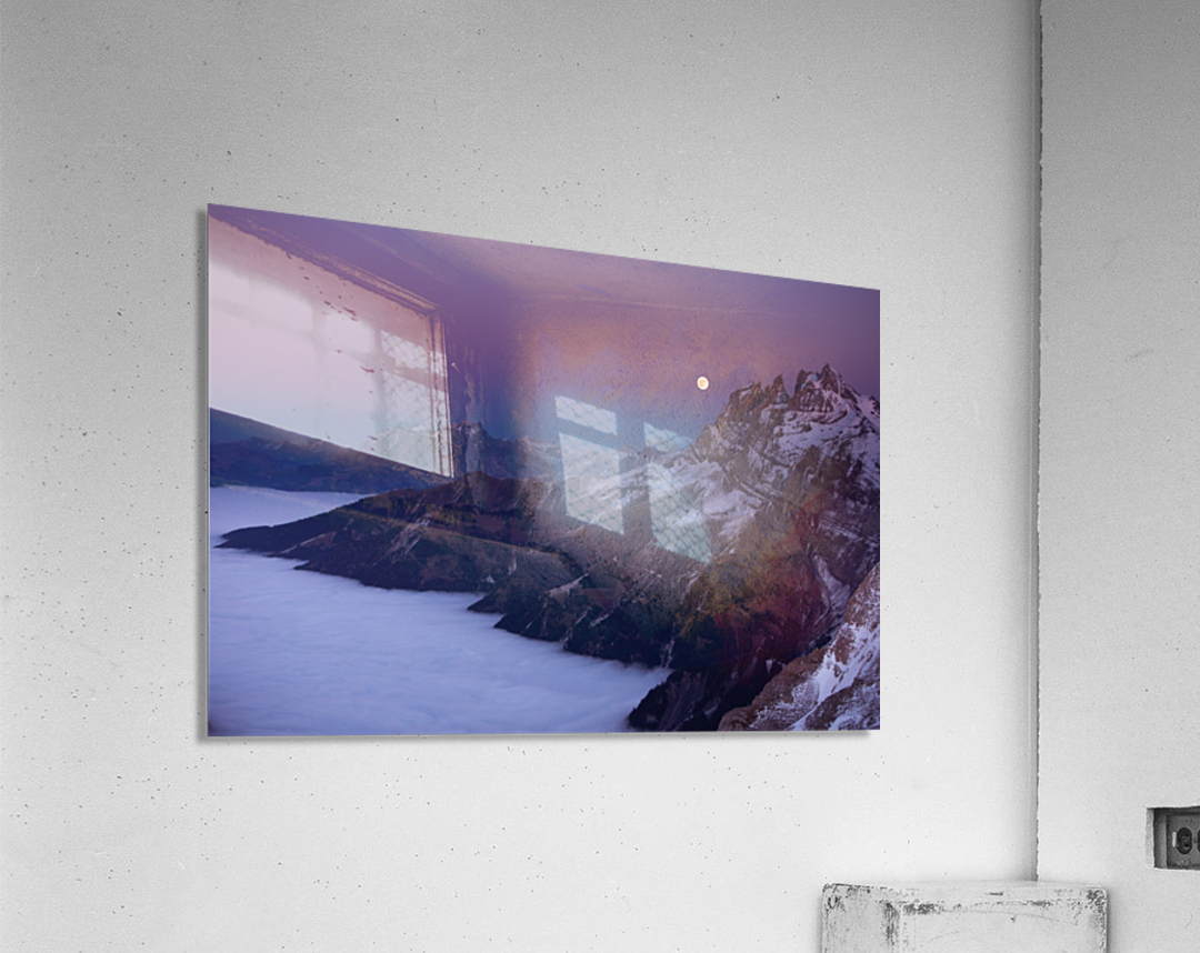 Full Moon over a sea of clouds  Acrylic Print