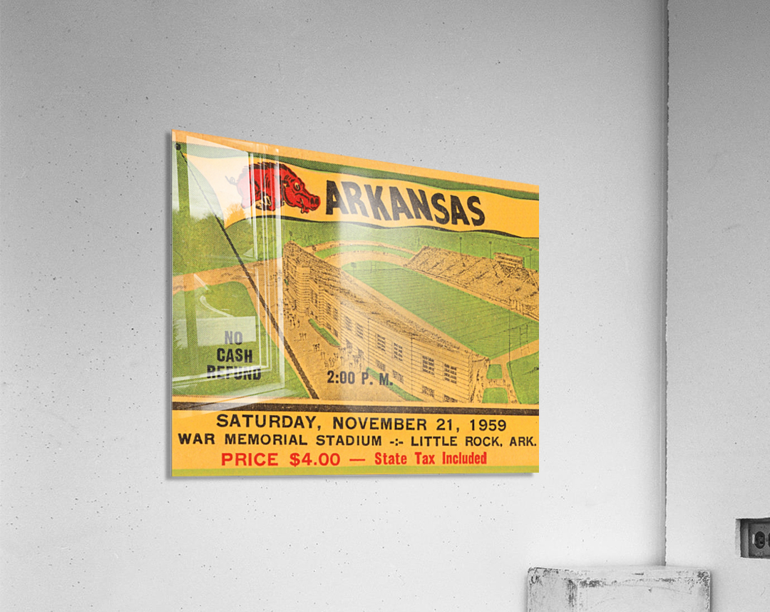 1959 Arkansas Football Ticket Art  Acrylic Print