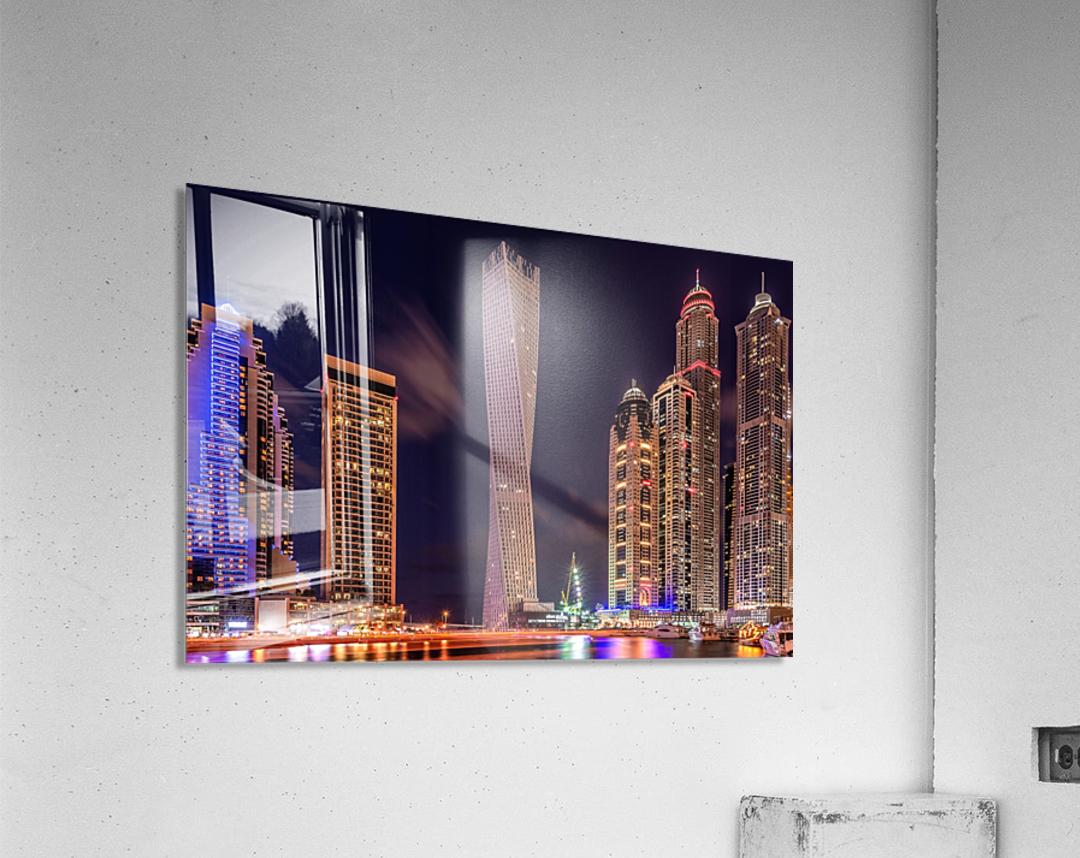 Dubai Marina Night Shot  Acrylic Print