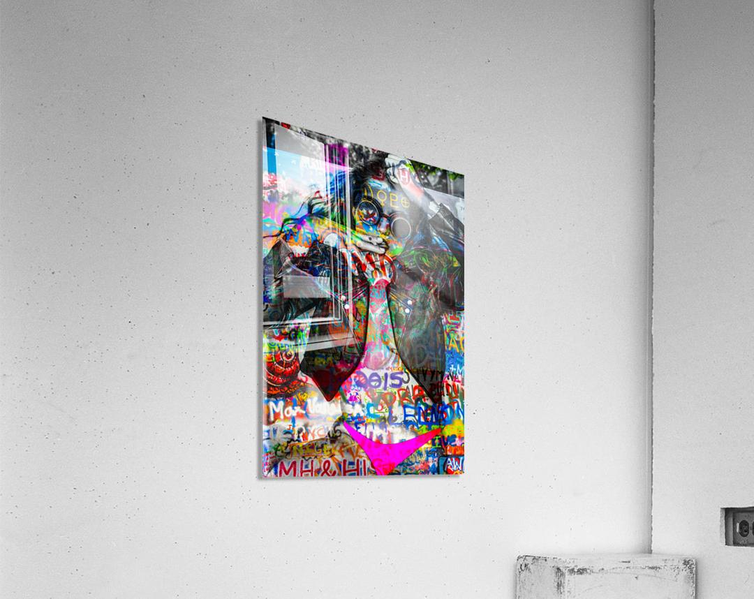 LA FEMME A LA VESTE DE CUIR   Impression acrylique