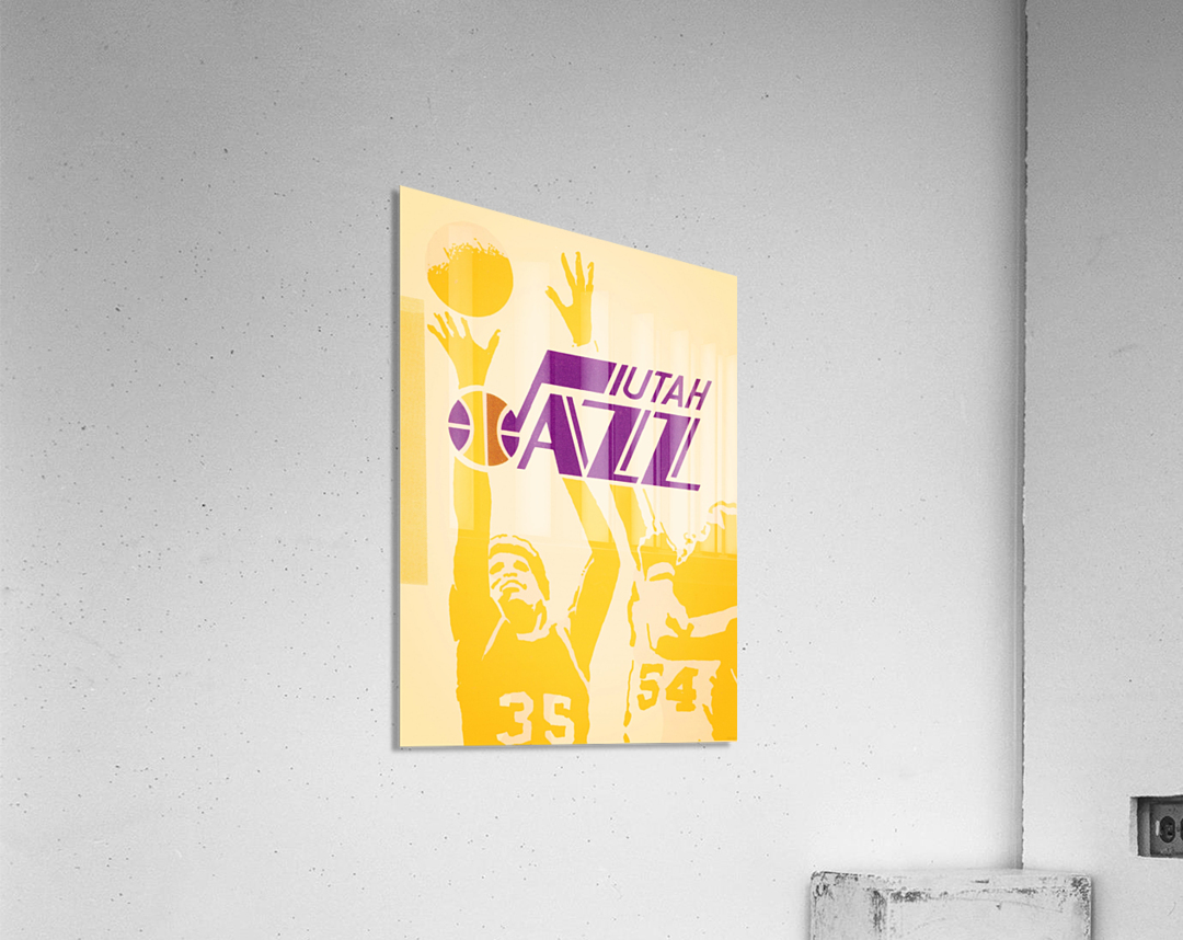 1980 Utah Jazz Retro Basketball Art  Acrylic Print