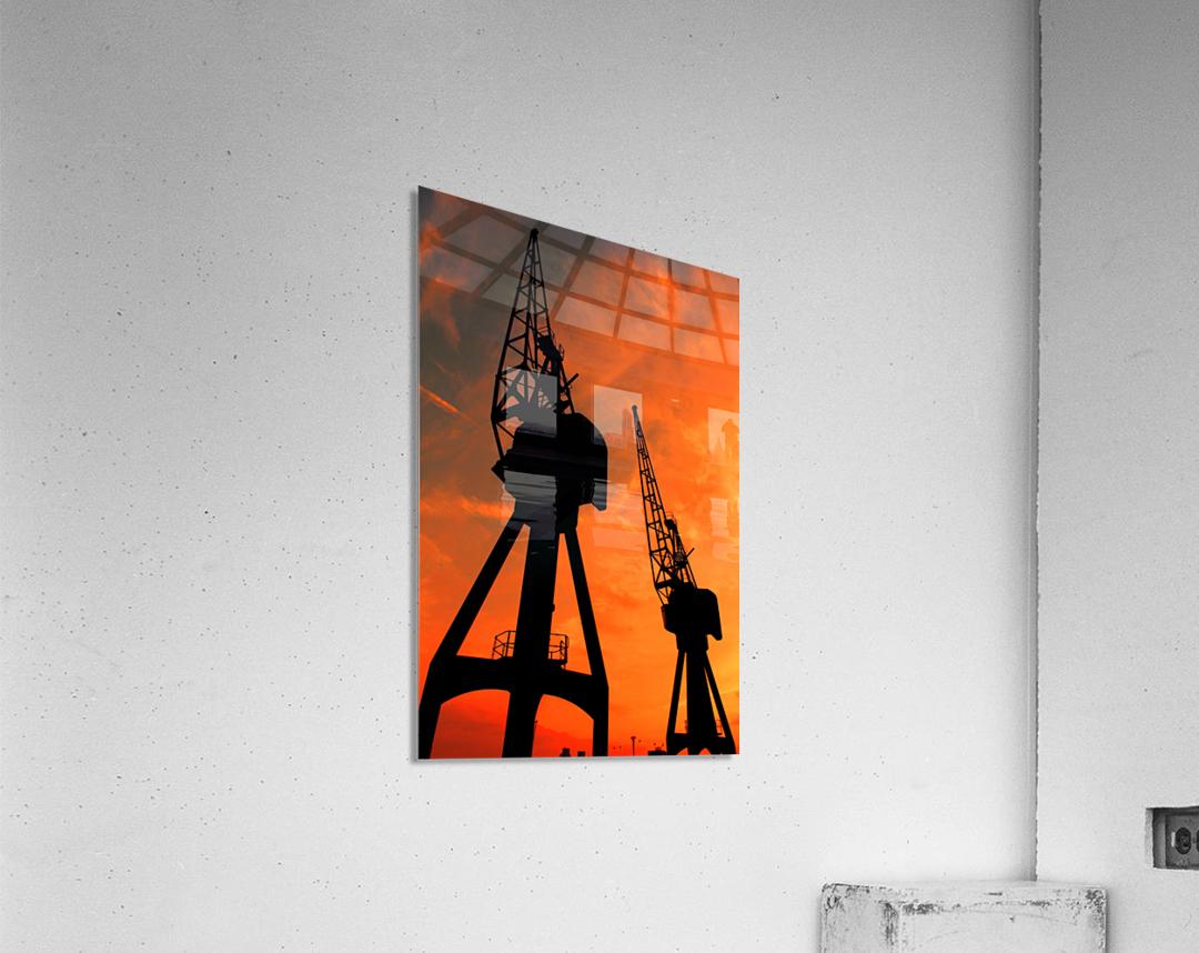 Sunset port tower cranes  Acrylic Print