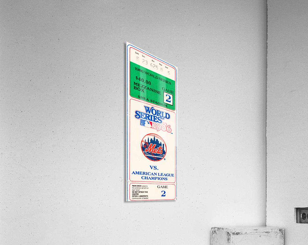 1986 New York Mets World Series Ticket Wall Art  Acrylic Print