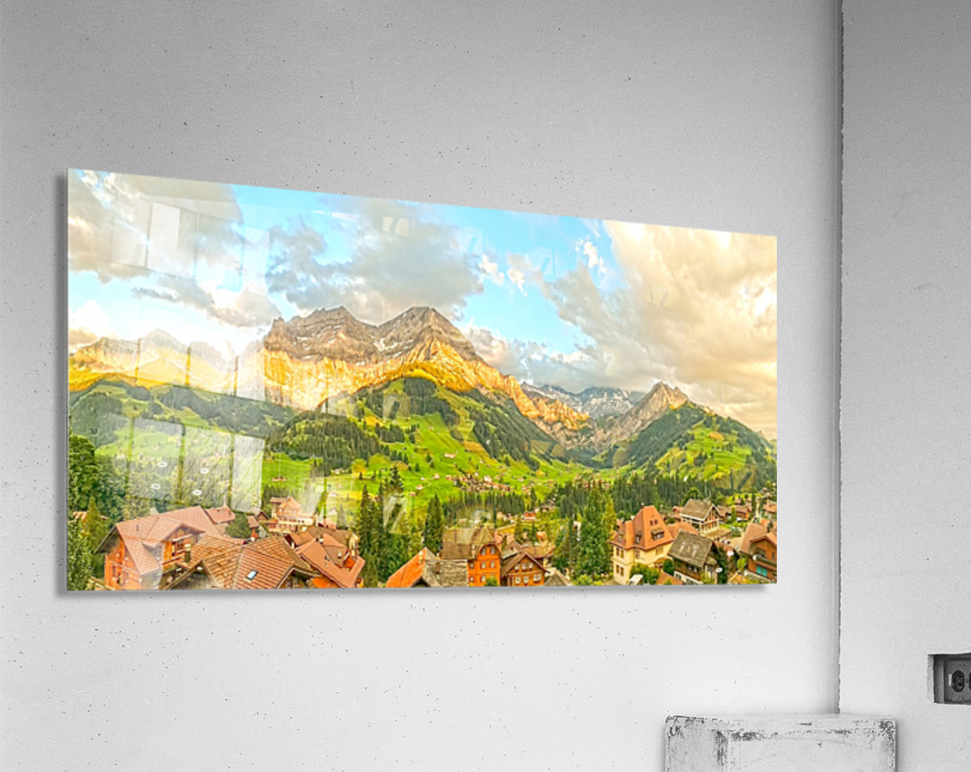 Golden Rays Across The Bernese Highlands in Switzerland Panorama with Engstligen Falls  Acrylic Print