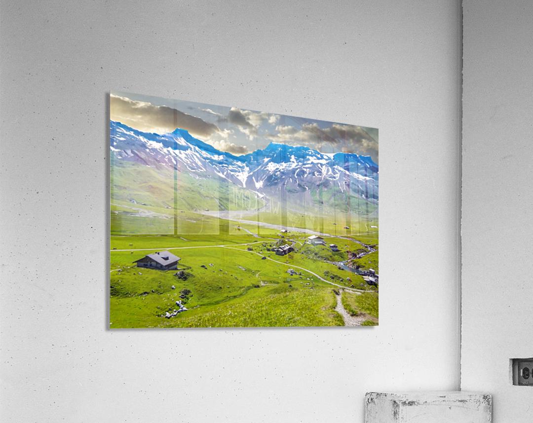 High Alps Village in Spring Switzerland  Acrylic Print