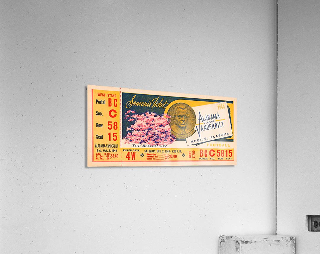 1948 Vanderbilt vs. Alabama Ticket Art  Acrylic Print