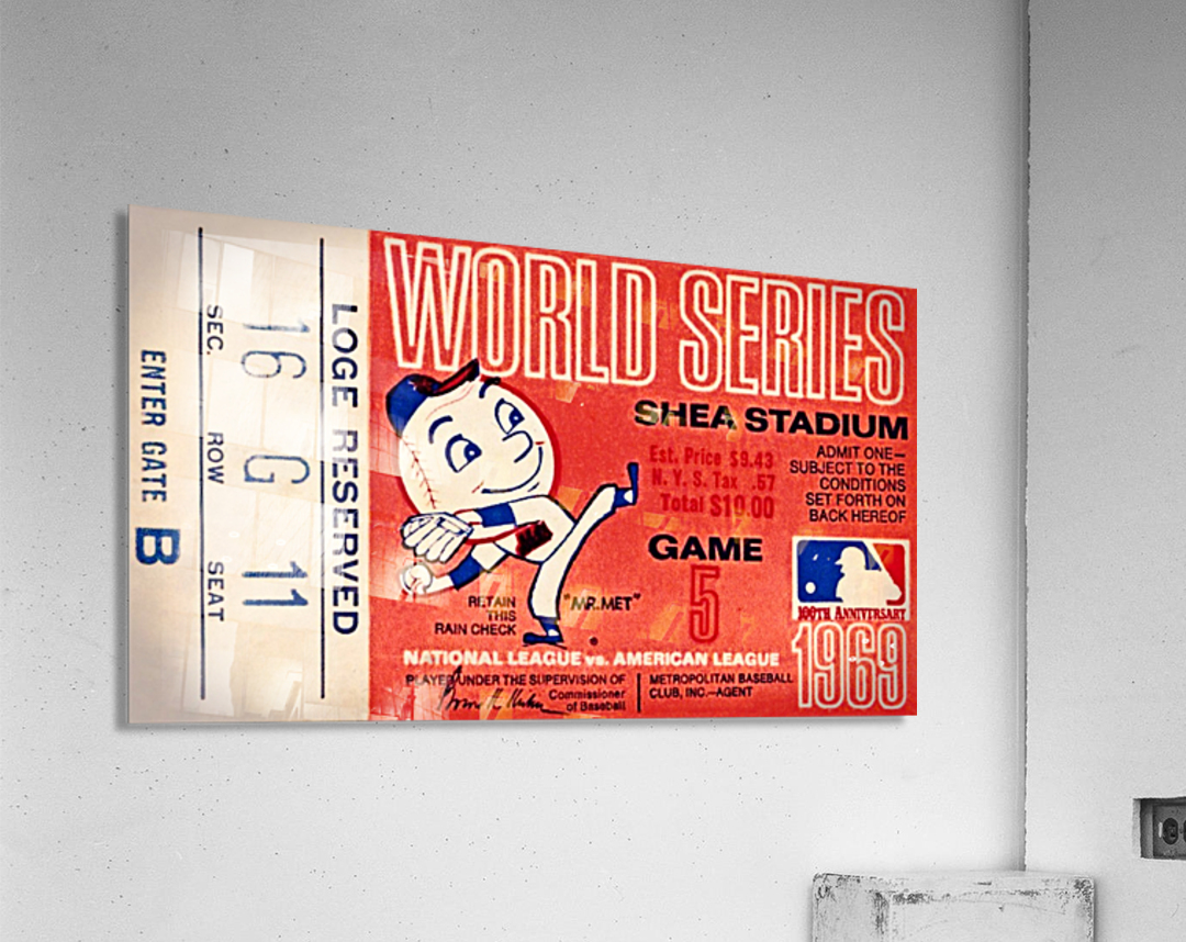 1969 New York Mets Game 5 Ticket Art  Impression acrylique