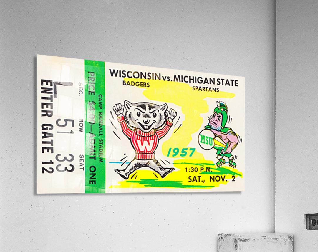 1957 Wisconsin vs. Michigan State Football Ticket Art  Acrylic Print