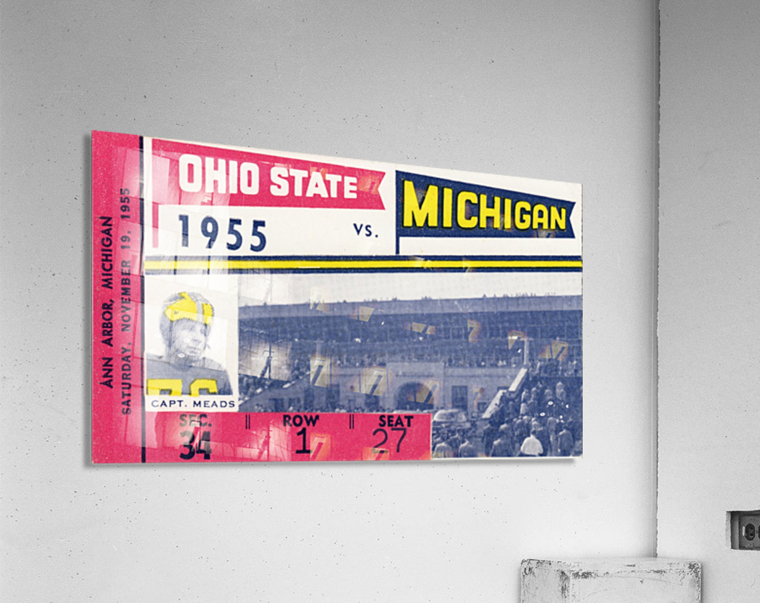 1955 Michigan vs. Ohio State Football Ticket Art  Acrylic Print