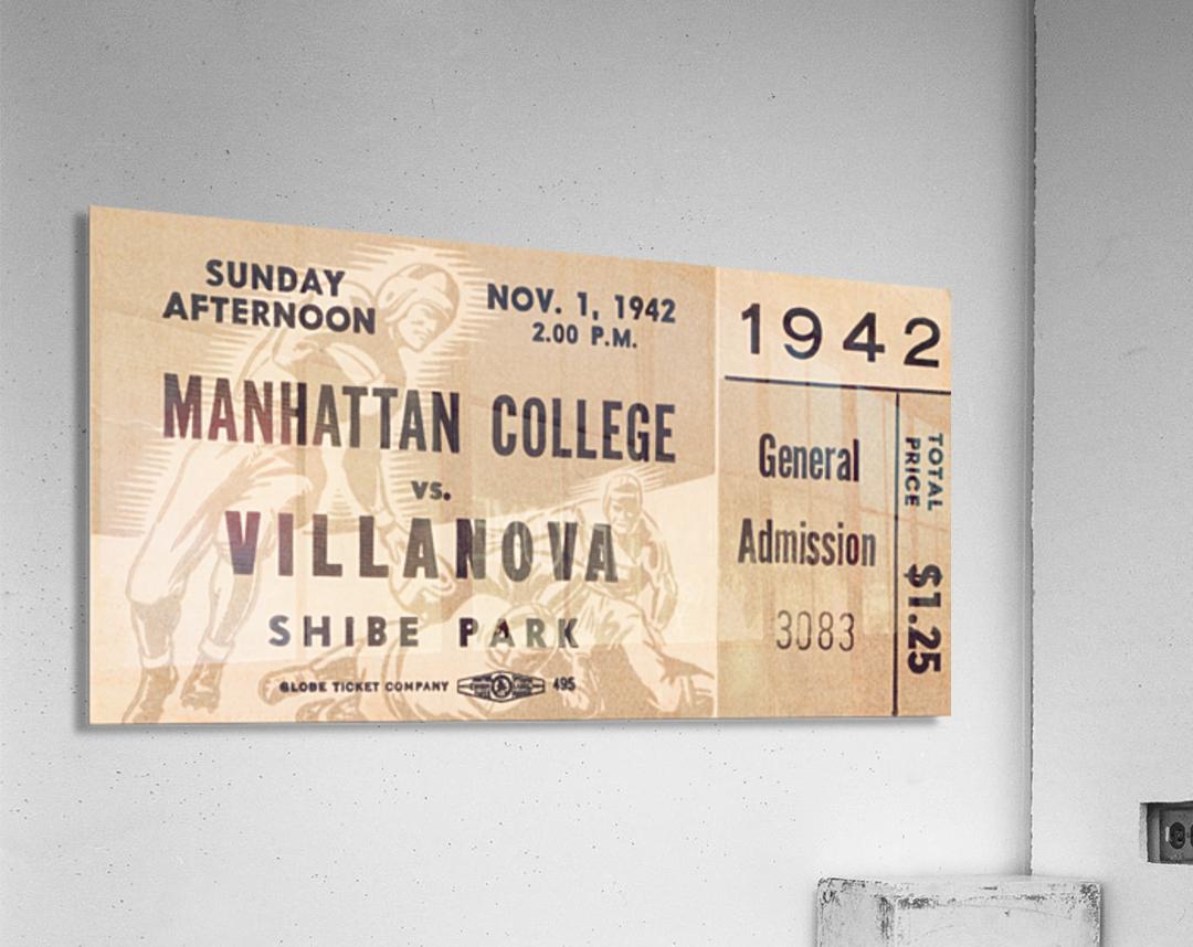 1942 Villanova vs. Manhattan Football Ticket Art  Acrylic Print
