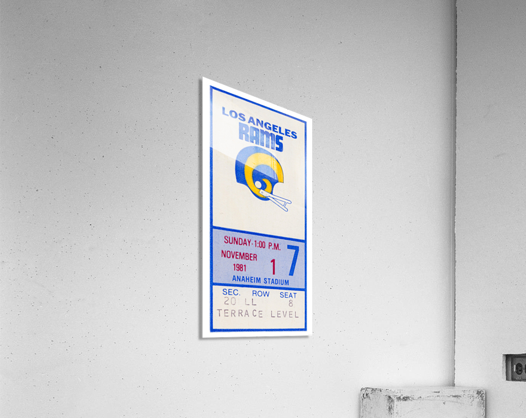 1981 Los Angeles Rams Ticket Stub Art  Acrylic Print