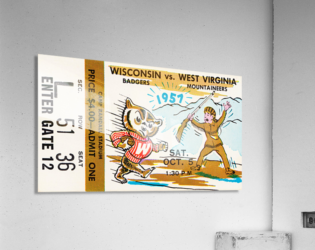 1957 Wisconsin vs. West Virginia Ticket Stub Art  Acrylic Print