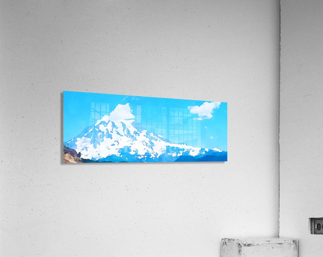 mt ranier art blue sky  Acrylic Print