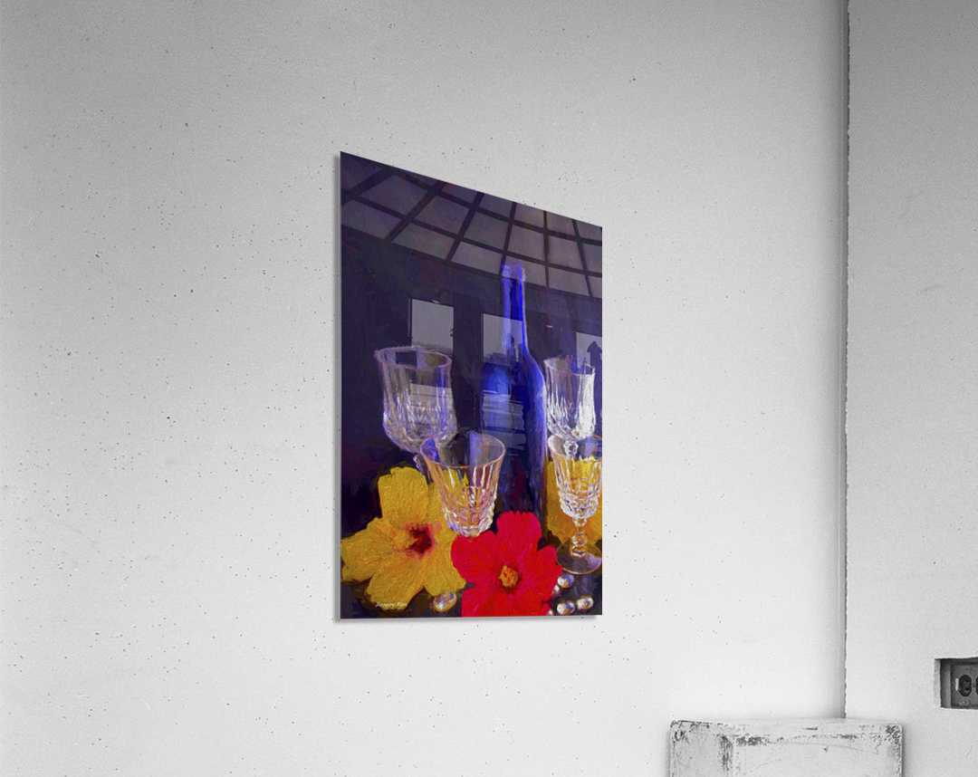 Painterly Blue Wine Bottle with four Crystal and Tropical Flowers  Acrylic Print