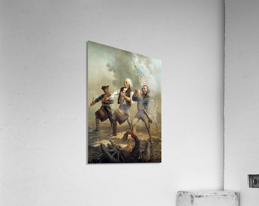 A painting of three men marching through a battle scene  Acrylic Print